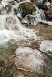 Frozen waterfall in Leventina valley Royalty Free Stock Photo