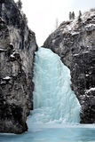 Frozen waterfall in mountain Stock Photography