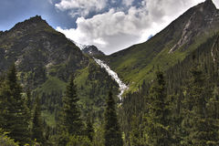 Frozen waterfall in the mountain forest. Near big Shar waterfall, naryn region, kyrgyzstan Royalty Free Stock Images