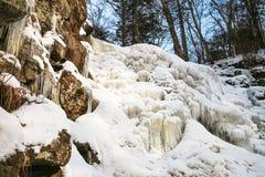 Frozen waterfall on mountain river Royalty Free Stock Photos