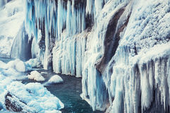 Frozen waterfall in the mountains Stock Photography