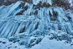 Frozen waterfall in the mountains Royalty Free Stock Image