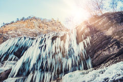 Frozen waterfall in the mountains. Stock Photography