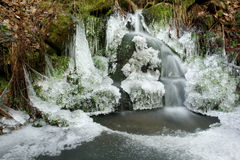 Frozen waterfall and pond. Scenic view of frozen waterfall and pond in countryside Royalty Free Stock Image