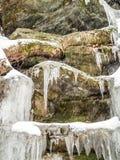 Frozen waterfall in Ricketts Glen Park. Frozen waterfall in Ricketts Glen State Park, Pennsylvania Stock Photos