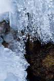 Frozen waterfall on a rocks Stock Photography