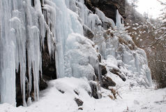 Frozen waterfall and Snow Royalty Free Stock Image
