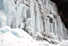 Frozen waterfall and Snow Stock Image