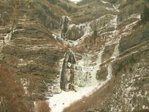 A Frozen Waterfall in  Utah Winter Canyon Royalty Free Stock Image