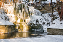 Frozen waterfall in village Lucky, Slovakia royalty free stock images