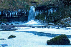 Frozen waterfall wales Royalty Free Stock Photography