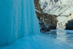 Frozen waterfall on the way of Chadar trek royalty free stock images