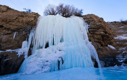 Frozen waterfall on the way of Chadar trek stock image