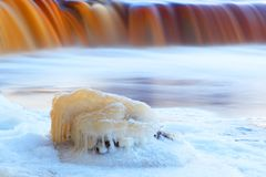 Frozen waterfall. Winter. Landscape royalty free stock images