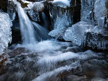 Amazing icicles on a small waterfall royalty free stock photography