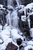 Frozen waterfall in winter time , Lofoten Norway landscape stock image