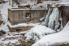 Frozen waterfall in Wisconsin. A frozen waterfall in Wisconsin Royalty Free Stock Photo