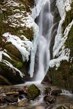 Frozen waterfalls ith rocks and moss and snow. Frozen waterfalls in wintertime in the Ardennes in Belgium Royalty Free Stock Photography