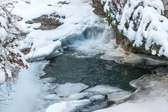 Frozen waterfalls of Johnston Canyon in Banff National Park, Canada stock photography