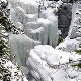Frozen waterfalls in Maligne Canyon in the Jasper National Park,. Alberta, Canada Stock Photos