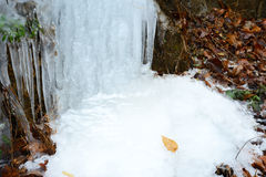 Frozen waterfalls on the side of a cliff. Stock Photos