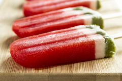 Frozen Watermelon and Kiwi Popsicles Stock Image