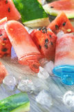 Frozen watermelon popsicles Stock Image