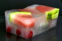 Frozen watermelon slices. On black background Stock Photo