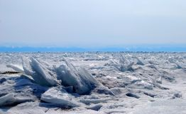 The frozen waves of the Baikal lake. In winter Stock Photo