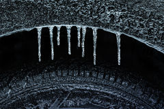 Frozen Wheel Well and Tire Royalty Free Stock Images
