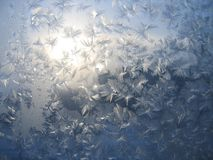 Frozen window #2. Frosty natural pattern on winter window Royalty Free Stock Photo