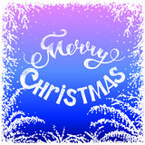Frozen window. With Christmas greetings. Christmas card Stock Photography