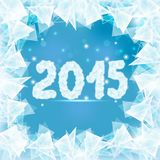 Frozen window 2015. Ice figures 2015 on winter window with abstract pieces ice vector illustration