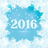 Frozen window 2016. Ice figures 2016 on winter window with abstract pieces ice Vector Illustration