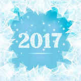 Frozen window 2016. Ice figures 2017 on winter window with abstract pieces ice Royalty Free Illustration