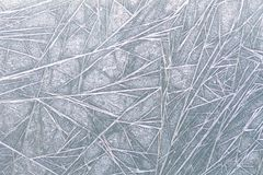 Frozen window ice pattern texture, snowflakes and icy background, close-up, soft focus Stock Photos