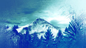 Frozen Window Winter Mountain Landscape with Fir Trees Royalty Free Stock Image