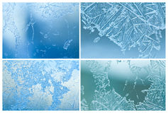 Frozen windows set. Ice flowers, frost and icy textured patterns. Winter season decorations. Macro view, soft focus. Frozen windows set. Ice flowers, frost and Royalty Free Stock Photos