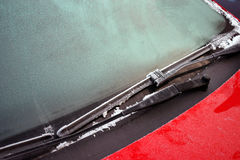 Frozen windscreen and wipers Stock Photos