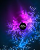 Frozen winter holiday background, Christmas snowflakes. New Year 2018 seasonal abstract background, blue and purple colors Royalty Free Stock Photo