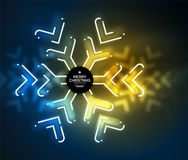 Frozen winter holiday background, Christmas snowflakes. New Year 2018 seasonal abstract background, blue and yellow colors Stock Photography