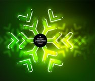 Frozen winter holiday background, Christmas snowflakes. New Year 2018 seasonal abstract background, green color Stock Images
