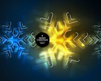 Frozen winter holiday background, Christmas snowflakes. New Year 2018 seasonal abstract background, blue and yellow colors Royalty Free Stock Photo