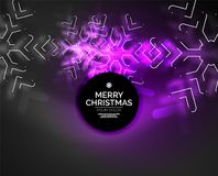 Frozen winter holiday background, Christmas snowflakes. New Year 2018 seasonal abstract background, purple color Stock Image