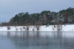 Frozen winter lake Stock Photography