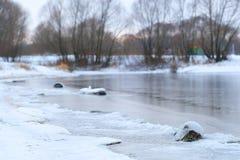 Frozen winter lake Stock Photo