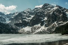 Frozen winter lake in scenic mountains, Morskie Oko, Sea Eye, Tatra National royalty free stock photography