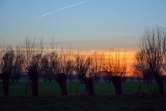 Frozen winter landscape, beautiful sunset Royalty Free Stock Photos