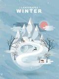 Frozen winter landscape in flat design Stock Photos