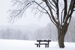 Frozen winter landscape with snow-covered bench Royalty Free Stock Photos